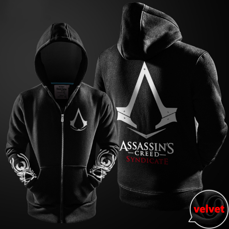 Assasins Creed Hoodie Men Black Cosplay Sweatshirt Costume Fleece
