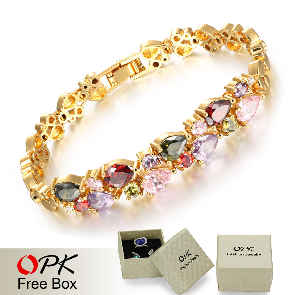 cubic swan plated opk color in gold link chain woman jewelry bracelet zirconia fashion wedding vintage bracelets from item design