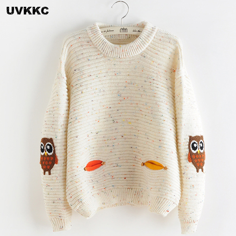 2017 womens fashion winter autumn o neck collar new owl character with  pocket hit color solid 75e269c23