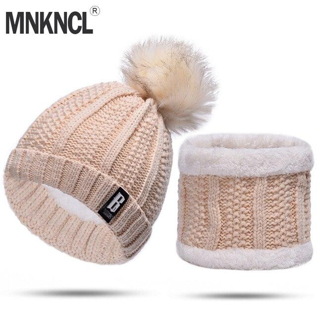 MNKNCL 2 unidades conjunto de invierno sombrero y bufanda para mujer de invierno sombreros de lana mujer invierno sombrero Casual Color sólido sombrero y bufanda