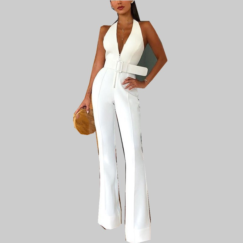 2019 Women Summer Elegant Office Lady Jumpsuit Sexy V Neck Sleeveless Workwear Belted Long Backless Jumpsuits in Jumpsuits from Women 39 s Clothing