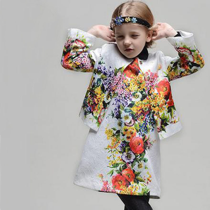 ФОТО New Christmas Brand Girls Winter Coat Floral Print 100% Cotton jackets for girls kids clothes Jackets & Coats Free shipping