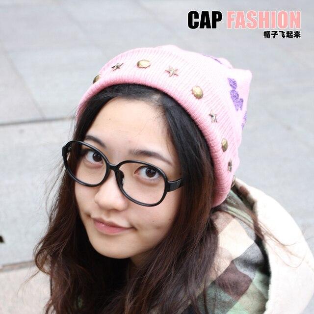 Cartoon style MICKEY bling velvet line cap knitted hat