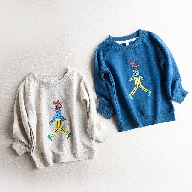 2017 New spring Boys T-shirt Children's Cartoon Fashion round collar printed T shirt terry Cotton Casual Kids sweatshirt