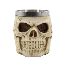 3D Resin Skull Mug Stainless Steel Beer Cup Drinkware For Coffee Tea Tools Halloween Gift(China)