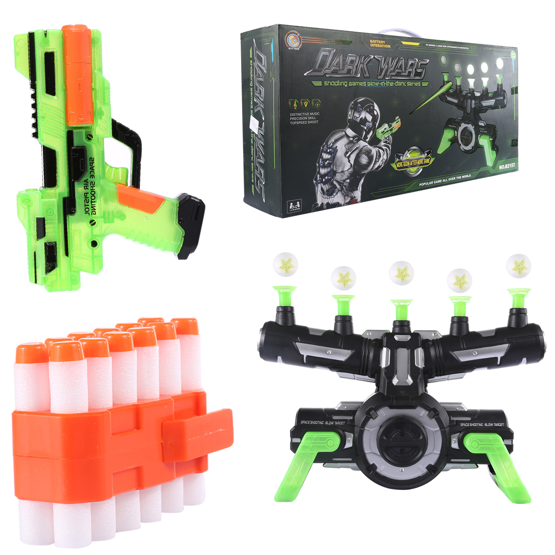 Electrodynamics Suspension Soft Bullet Shooting Toy and Suspension Dart Board Set(Luminous Version) - Black-green