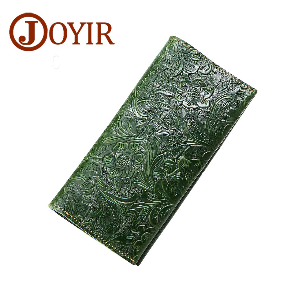 JOYIR Embossed Flowers Genuine Leather Women Wallet Brand Design Fashion Long Purse Clutch Coin Purse Card Holder Lady Female026 joyir embossed flowers genuine leather women wallets brand design fashion long purse clutch coin purse card holder lady female27