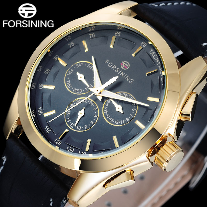 Forsining Fashion Brand Men Automatic Mechanical Watch Men's Gold Casual Wristwatches Genuine Leather Calendar 24 Hour Clock 4pcs 1 9 rubber tires