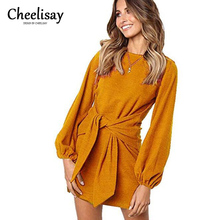 2019 Women Summer Dress New Fashion Leisure Belt Long-sleeved O-neck Party Vestidos Plus Size Female