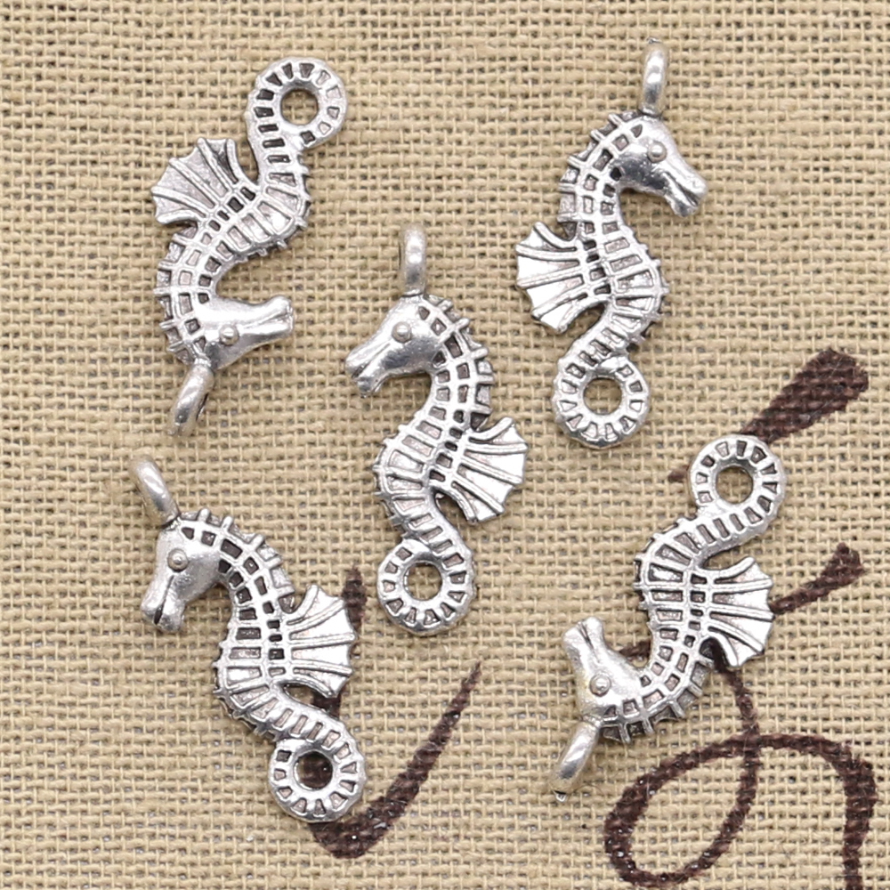 Silver Yellow Plated Seahorse And Shell Charm 28mm