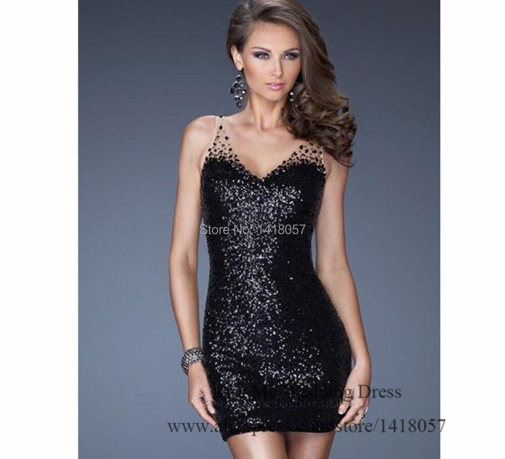 2015 weihnachten Schwarz Cocktail Party Kleid Backless Pailletten ...