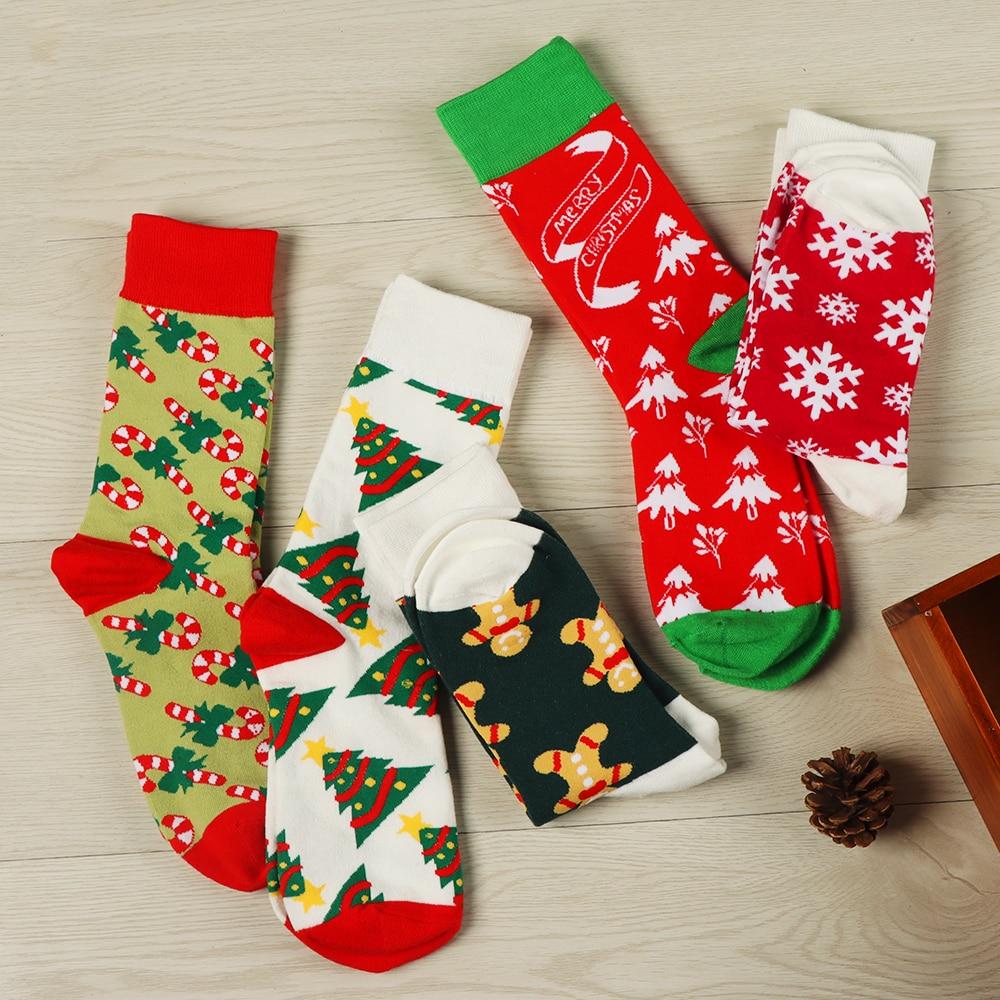 Harajuku Christmas Socks Women Cartoon Female Hosiery Cotton Square Foot Socks