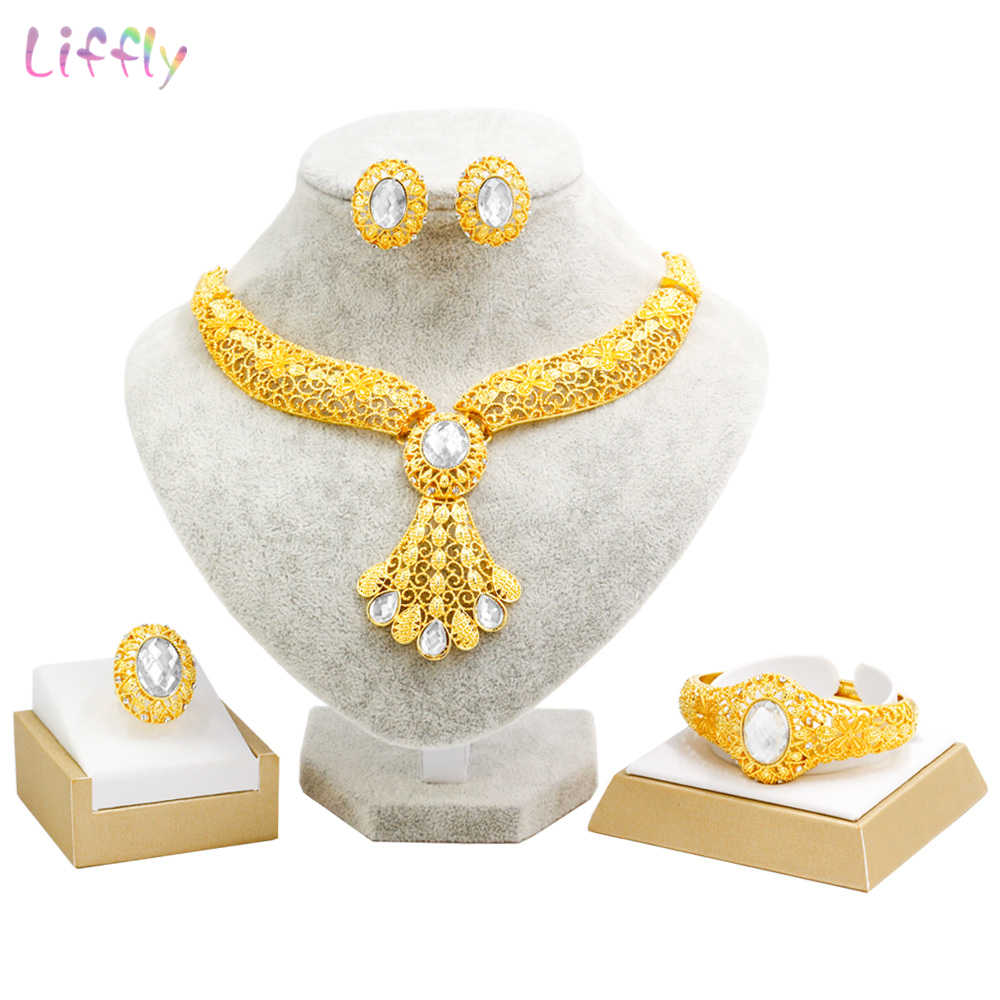 Liffly Luxury Dubai Gold Jewelry Sets Bridal Gift Wedding Necklace Indian Jewelry Set Fashion Jewellery Earrings Women
