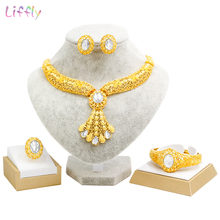 Liffly Luxury Dubai Gold Jewelry Sets Bridal Gift Wedding Necklace Indian Jewelry Set Fashion Jewellery Earrings Women недорого