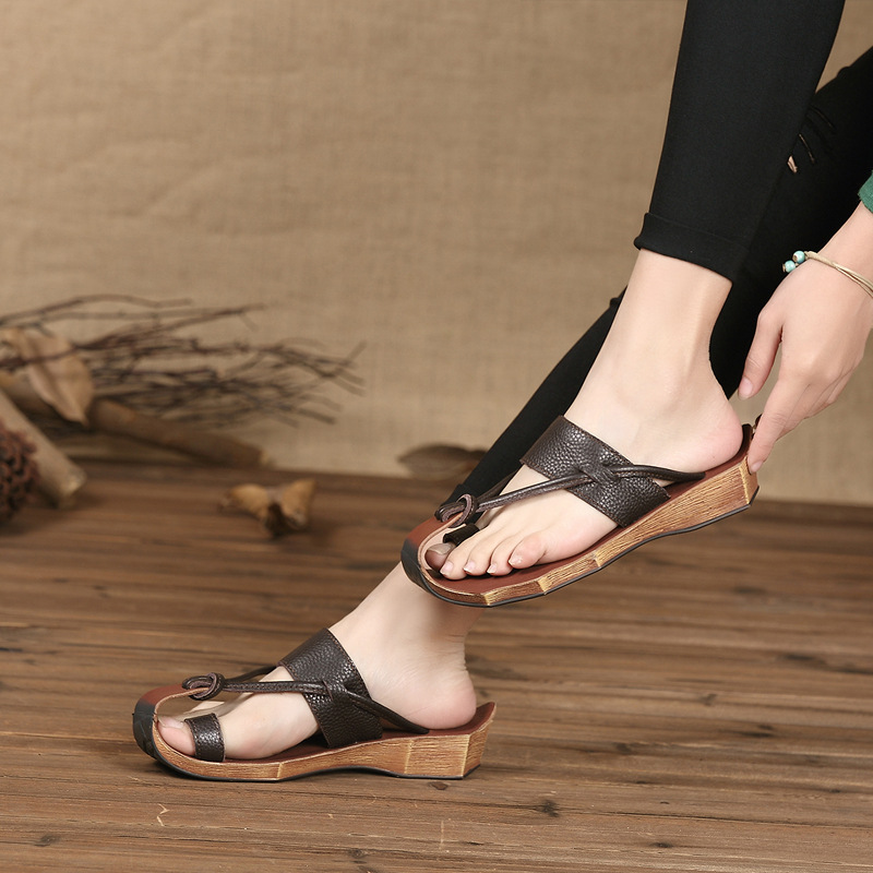 Summer Genuine Leather Women s Sandals Closed Toe Flip Flops For Women Women Beach Casual Slippers