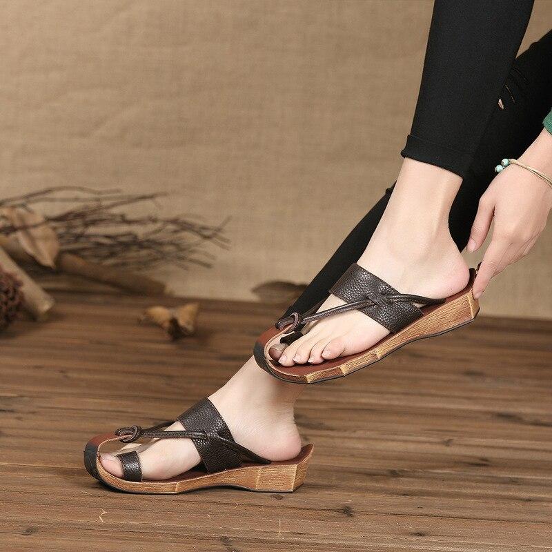 Sandalias de las mujeres del cuero genuino del verano del dedo del - Zapatos de mujer