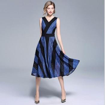 2018 New fashion women dress summer v neck lace striped tank dress sexy Large pendulum patchwork A line office Temperament dress