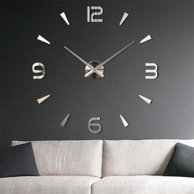 3D DIY Wall Clock Home Modern Decoration Crystal Mirror Sticker Living Room On Sale