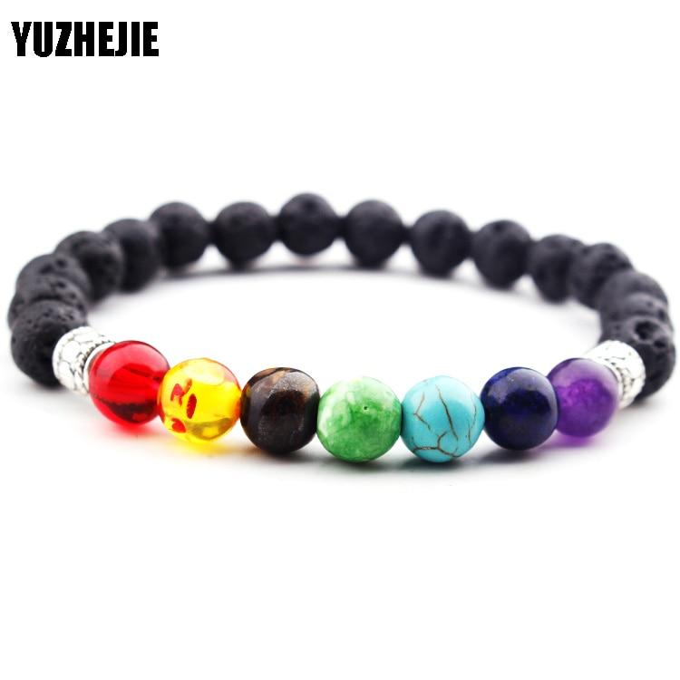 YUZHEJIE 7 Chakra Bracelet Healing Heart Charm Bracelets Wrist Mala Beads stone Yoga Bracelet Chakra Jewelry Mens Womens