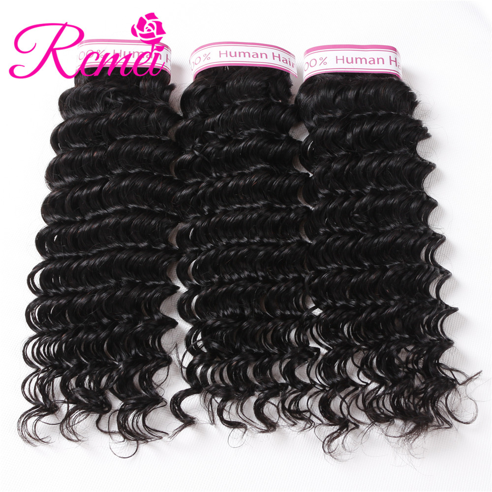 Rcmei Hair Pre-Color Bundle Pack Brazilian Deep Wave Human Hair 3 Bundle Deals Deep Wave Hair Weaving NonRemy Hair Natural Black
