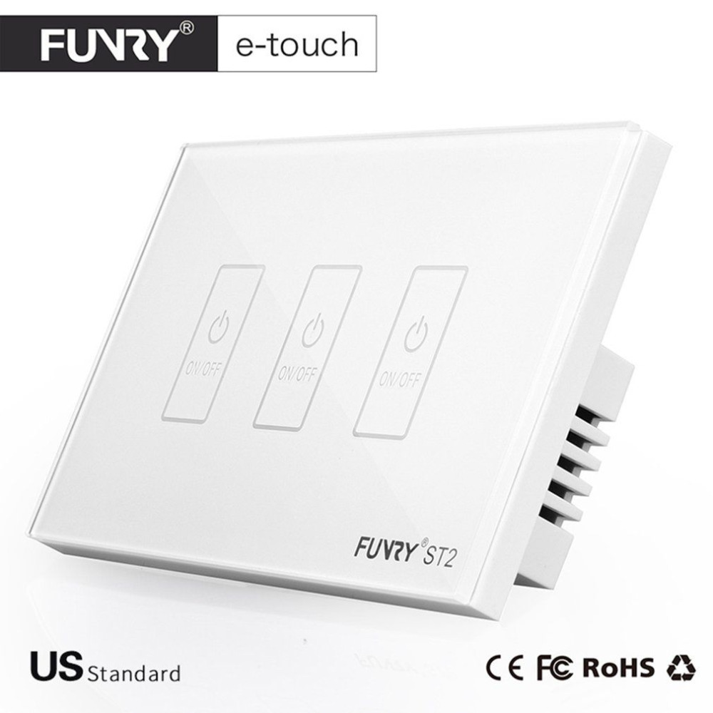 FUNRY ST2-3 US Plug Smart Touch Switch 3 Gang Wall Light Touch Screen Tempered Glass High Sensitivity Dirtproof White/Black/Gold smart home us au wall touch switch white crystal glass panel 1 gang 1 way power light wall touch switch used for led waterproof