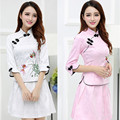 2017 Women Vintage Retro Cheongsam Oriental Female Cotton Chinese Traditional Dress Evening Party Knitted Qipao Dresses