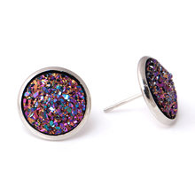 Hot Sale 1 Pair Shine Ear Stud Earrings For Women 10 Colors Round With Cubic Zircon Women Jewelry Gift(China)