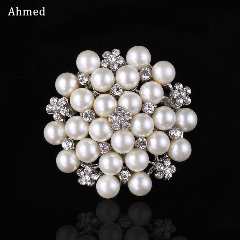 Ahmed Korean Full Pearl Rhinestone Flower Brooches New Design Scarf Suit Cat Clip Up For Women Wedding Corsage Fashion Jewelry
