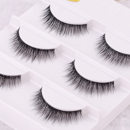 Free shipping 3pcs/lot 100%real 3d mink fur strip false eyelash long individual eyelashes mink lashes extension 3D Eyelashes