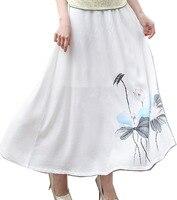 Shanghai Story Linen Long Skirt Spring Summer Skirts Chinese Style Bohemian Skirts Casual Floral Skirt