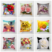 Fuwatacchi Floral Cushion Cover Colorful Sunflower Dandelion Rose Pillows Decoration For Car Home Throw Pillowcase