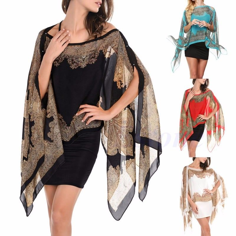 Women Chiffon Paisley Shawl Blouse Lady Summer Beach Bikini Cover Up Tops Poncho Cardigan Tunic Cape indian mandala paisley lotus shape beach throw