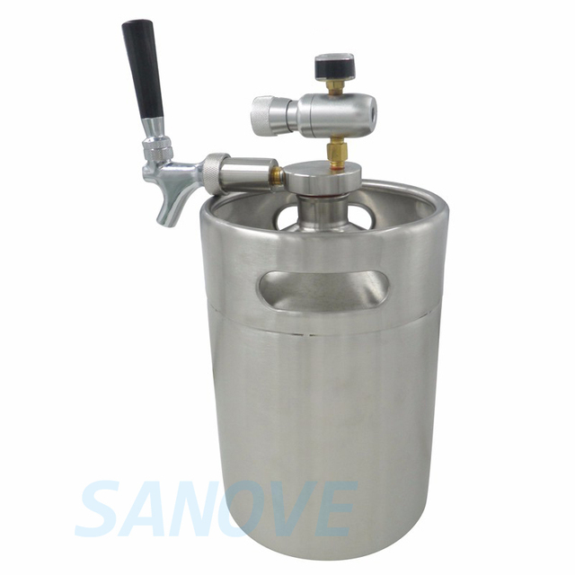 5L mini Growler spears with Tap Faucet with CO2 Injector Premium +5L ...