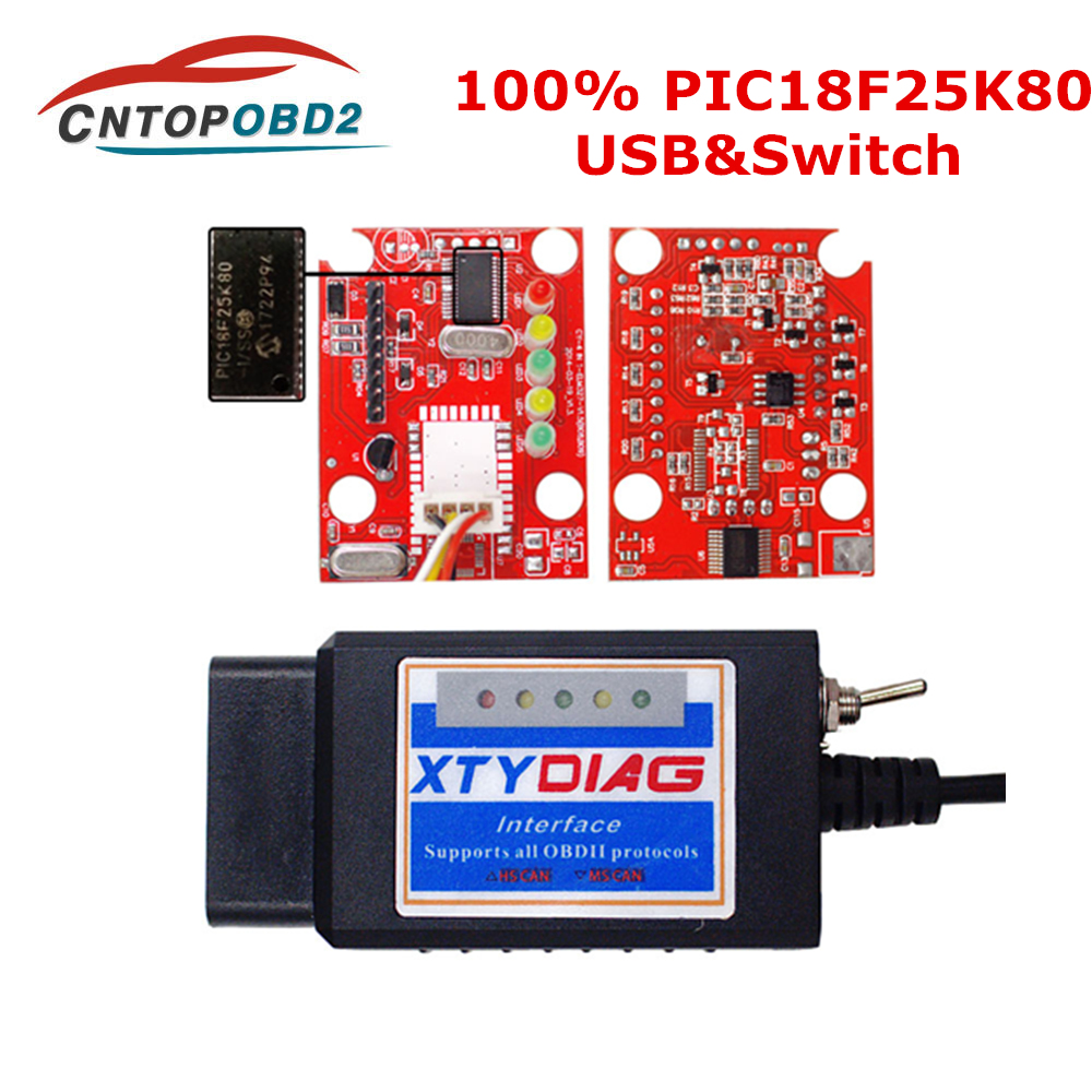 2019 100% PIC18F25K80 Chip ELM327 V1.5 OBDII USB Switch ELM 327 CAN /MS CAN For Forscan OBD2 Diagnostic Scanner Free Shipping