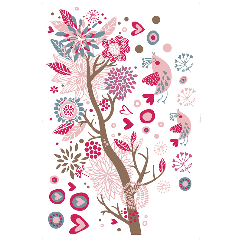 Bohemia Style Cartoon Dream Tree Colorful Flower Hearts Birds Wall Sticker Home Decor For Living Room Kids Decal Wallpaper In Stickers From