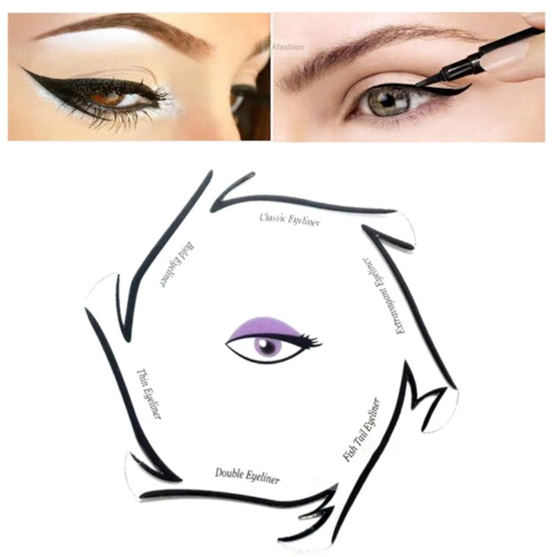 6 In 1 Eyeliner Drawing Template Cards Fashion Cosmetic Tool Kits Smokey Cat Eyes Makeup Accessory Beginner Use