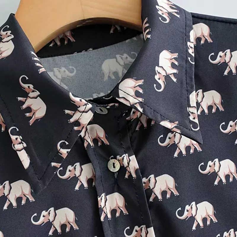 2019 Sweet Animal Print Za Women Spring Blouse Female Spring Elephant Cute Print Long Sleeve Fashion Shirt Tops bluzki damskie