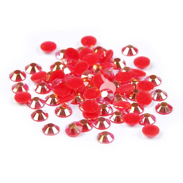Resina cristal Non Hotfix Flatback Rodada Strass para Decoração de Unhas Montagens Gif Pedras de Strass 2-6mm Red AB Cor cola Em Pedras Preciosas