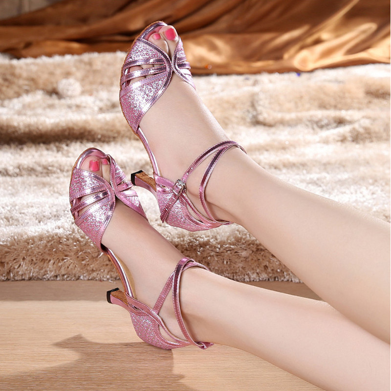 Practice Glitter Gold Silver Latin Dance Shoes Woman Salsa Shoes Ladies Ballroom Dance Sadals Girls Leather Square Heel