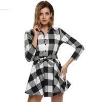 Mùa xuân Mùa Hè Kẻ Sọc Ăn Mặc Thời Trang Brand New Dài Tay Áo Ve Áo T Shirt Dress Phụ Nữ Quần Áo Casual vành đai Váy Vestidos