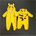 Cosplay Recém Bonito Dos Desenhos Animados Do Bebê Meninos Menina Roupas AU Jogos Pokemon Ir Pikachu Crianças dos miúdos de Manga Longa Romper Outfits Roupas