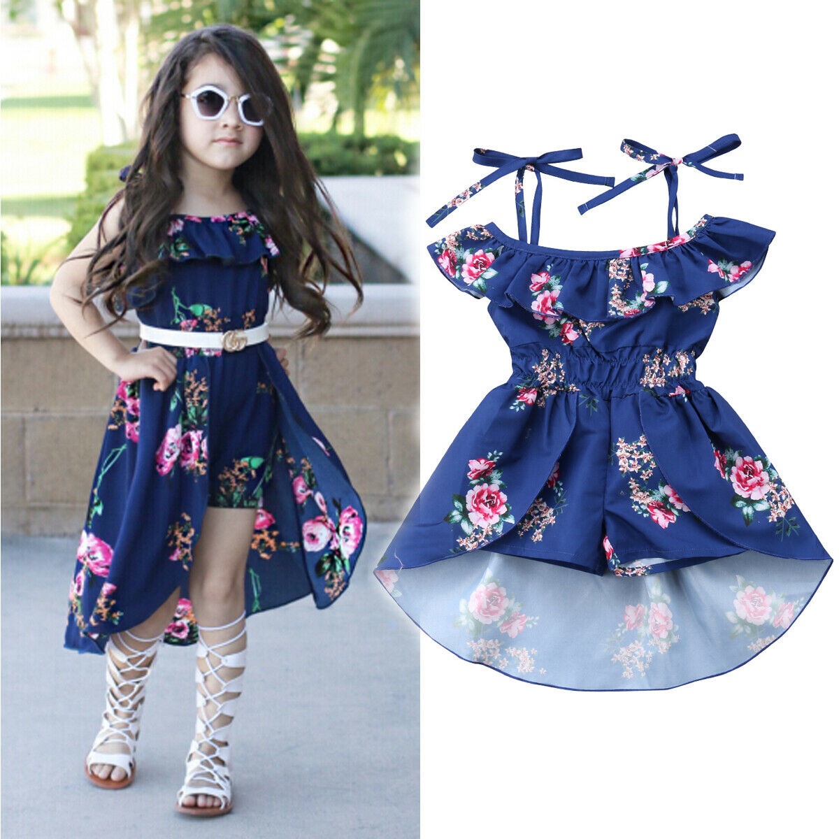 Newest Fashion Toddler Baby Girl Clothes Flower Print Strap Rompers Jumpsuit Swallow Tail Skirt One-Piece Outfit Summer Clothes