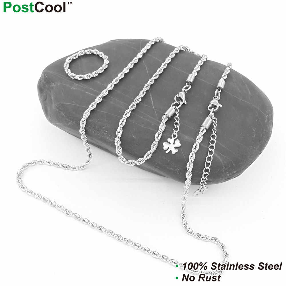 3MM Width Rope Stlye Stainless Steel Chain Necklaces 40/45/50/55/60/65CM Long/Wrist Chains 18/20/22CM Long/ Finger Chains DIY
