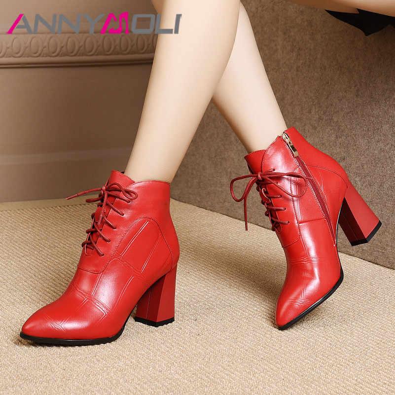 ANNYMOLI hiver bottines femmes en cuir véritable naturel carré haut talon bottes courtes bout pointu chaussures femme automne taille 4-10
