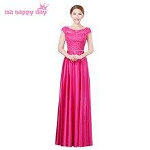 91ff5dc6d3c3 Lungo rosso da sposa di colore rosa caldo fucsia plus size bridemaid del  vestito da partito spose maides crimson glamorous abiti.