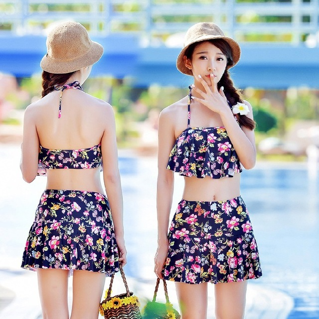 e155730ad04b7 2016 Vintage Women Hollow Split Skirt Bikini Set Floral Print Swim Suit New  Arrival Two Pieces Swimwear Cut Out Bathing Suit