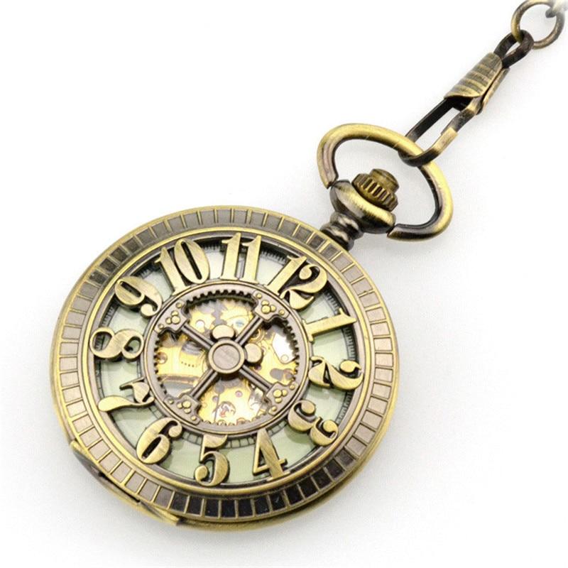 Relógio de Bolso Mão dos Homens do Vintage Bronze Esqueleto Automático Mecânico Vento Relógio Grande Número Colar & Fob Presente Oco