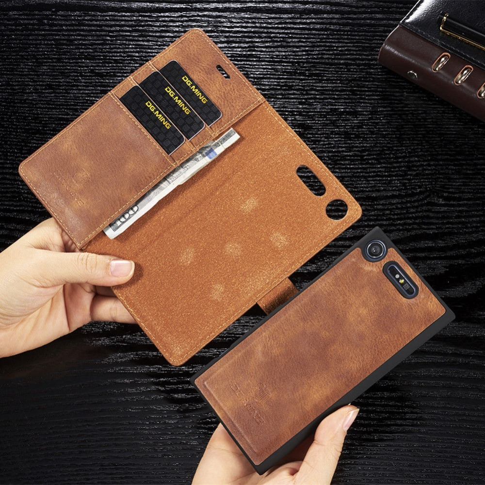 For <font><b>Sony</b></font> <font><b>Xperia</b></font> XZ XZ1 XZ2 XZ3 Compact pu Retro <font><b>Leather</b></font> Book Stand Wallet Detachable Magnetic 2 in <font><b>1</b></font> Removable Card Cover <font><b>Case</b></font> image