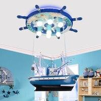 Творческий пиратский корабль led подвесные светильники индивидуальность детская спальня Для мальчиков и девочек мультфильм домашнего осве