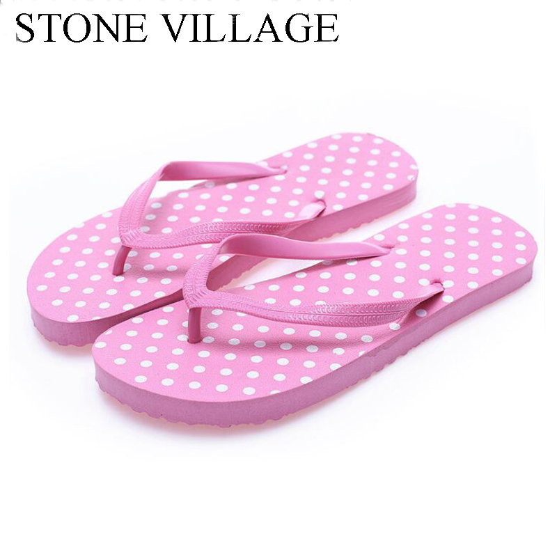 2018 Candy Colors Polka Dot Flip Flops Women Beach Shoes Summer Sandals Fashion Beach Lady Women Slippers Casual Women Shoes